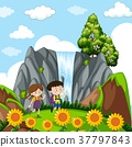 Children at the waterfall 37797843