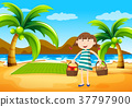Girl having picnic on the beach 37797900