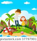 Man and girl on island 37797901