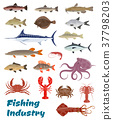 Vector fresh fish catch icons for fishery industry 37798203