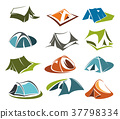 Vector tent icons camping site mountain adventure 37798334