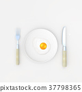 Fried egg on plate minimal concept 37798365