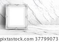 Blank white vintage frame at white clean marble  37799073