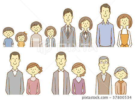 Male And Female Couple Old And Young 2 Stock Illustration