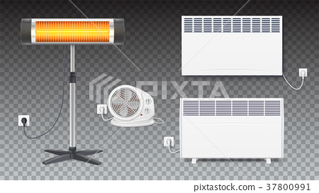 Set icons of heaters, household appliances on 37800991