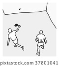 top view man serving the ball in the squash court 37801041