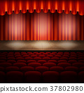 Stage with red curtain. EPS 10 vector 37802980