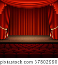 Stage with red curtain. EPS 10 vector 37802990