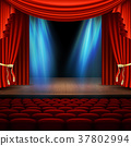 Stage with red curtain. EPS 10 vector 37802994