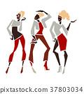 Silhouette fashion girls. 37803034
