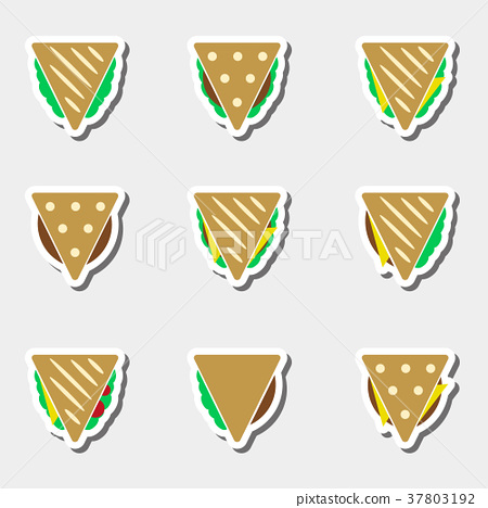 set of color tortilla or sandwich tacos stickers 37803192