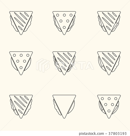 set of outline tortilla or sandwich tacos icons 37803193