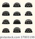 set of black tortilla tacos food icons set eps10 37803196