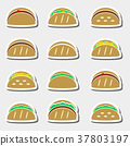 set of color tortilla tacos food stickers set  37803197