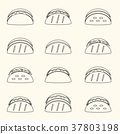 set of outline tortilla tacos food icons set eps10 37803198
