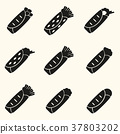 set of black tortilla food icons set eps10 37803202