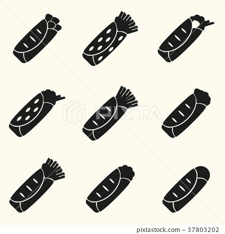 set of black tortilla food icons set eps10 37803202