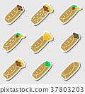 set of color tortilla food stickers set eps10 37803203