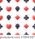 Seamless pattern with icons of playing cards. 37804387