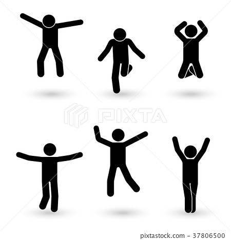 Stick figure happiness, freedom, jumping set 37806500