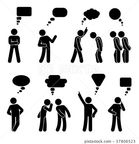 Stick figure dialog speech bubbles set 37806523