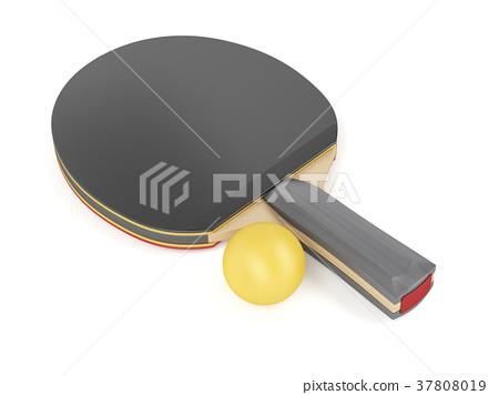 Table tennis racket and ball 37808019