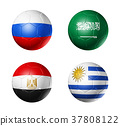 Russia football 2018 group A flags on soccer balls 37808122
