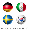 Russia football 2018 group F flags on soccer balls 37808127