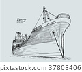 ferry boat, hand draw sketch vector. 37808406