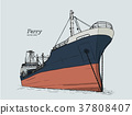 ferry boat, hand draw sketch vector. 37808407