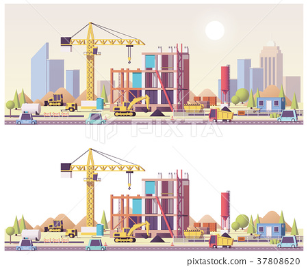 Vector low poly construction site 37808620