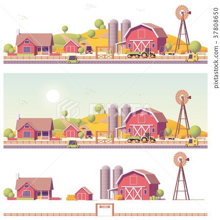 Vector low poly farm 37808650