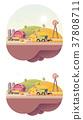 vector, farm, low 37808711