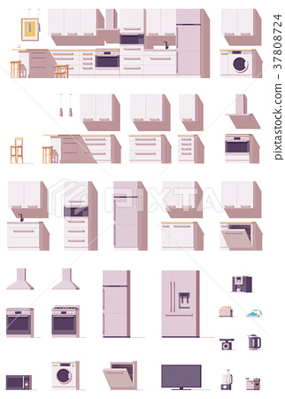 Vector kitchen equipment and furniture set 37808724