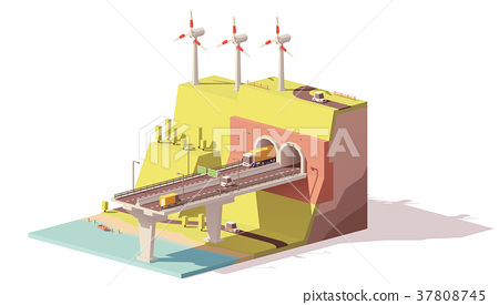 Vector low poly highway and wind farm 37808745