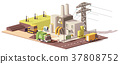 Vector low poly landfill gas collection plant 37808752