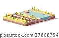 Vector low poly landscape with highway and river 37808754