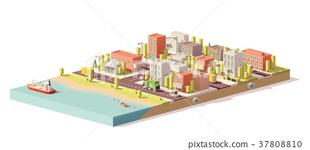 Vector low poly 2d buildings and city scene 37808810
