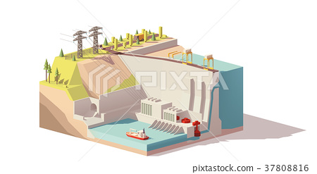 Vector low poly hydroelectric power station 37808816