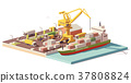 Vector low poly port container terminal and ship 37808824