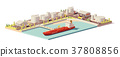 Vector low poly oil depot and oil tanker ship 37808856