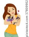 Teen Girl Hug Make Up Products Illustration 37809902