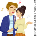 Teens Couple Sing Illustration 37809929