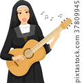 Girl Nun Guitar Play Sing Illustration 37809945