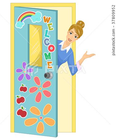Girl Teacher Welcome Classroom Illustration 37809952
