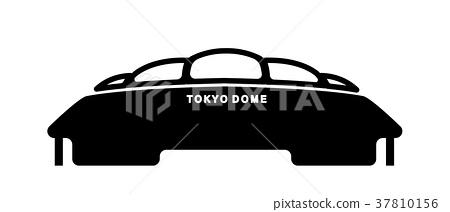Tokyo Landmark Silhouette Illustration (Tokyo Dome) 37810156