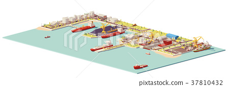 Vector low poly commercial port 37810432