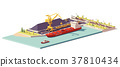Vector low poly coal terminal and bulk carrier 37810434