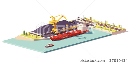 Vector low poly coal terminal and bulk carrier 37810434