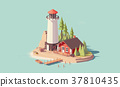 Vector low poly lighthouse 37810435